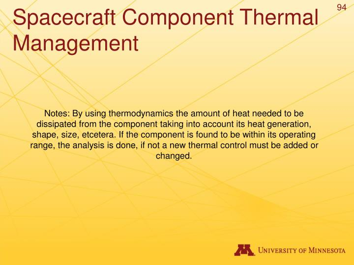 Spacecraft Component Thermal Management