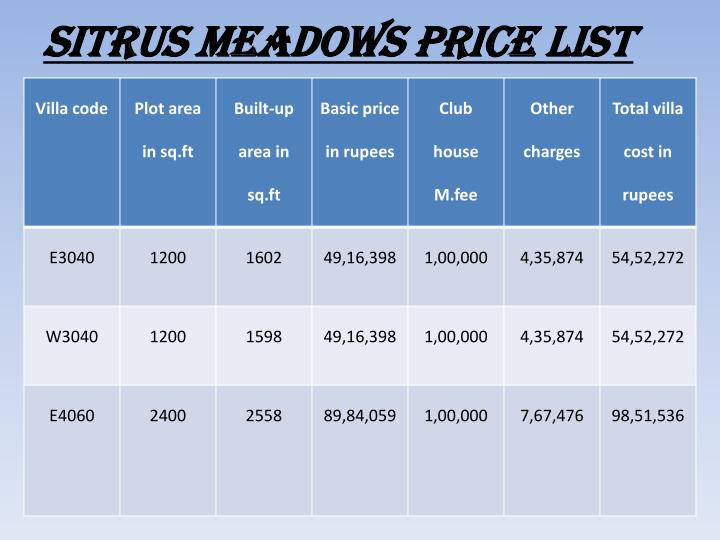 Sitrus meadows price list