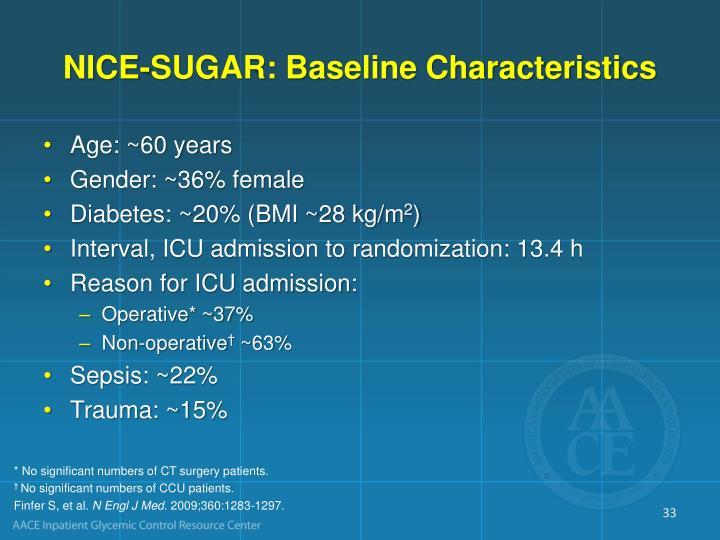 NICE-SUGAR: Baseline Characteristics