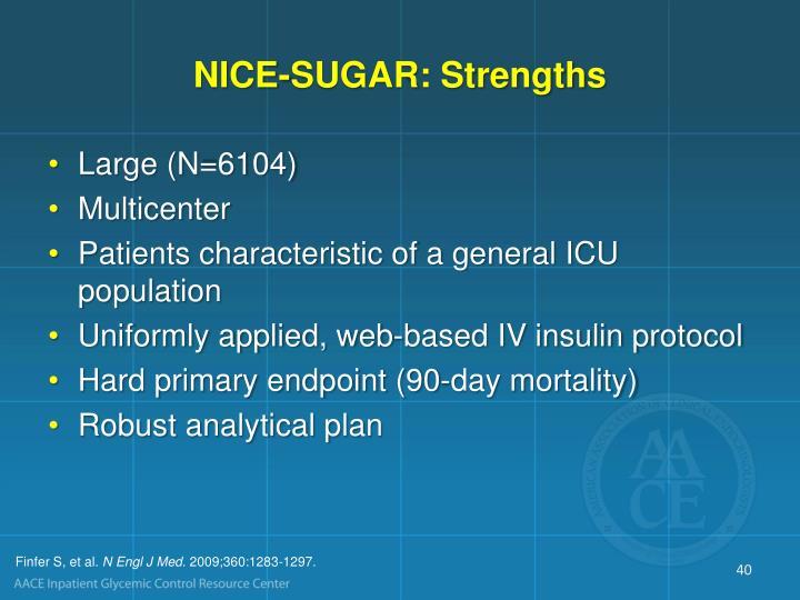 NICE-SUGAR: Strengths
