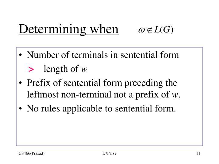 Determining when