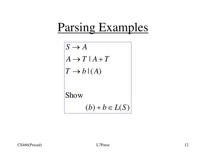 Parsing Examples
