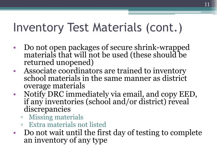 Inventory Test Materials (cont.)