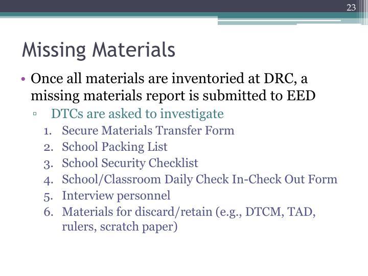 Missing Materials