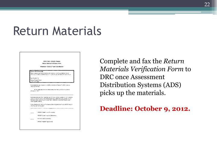Return Materials