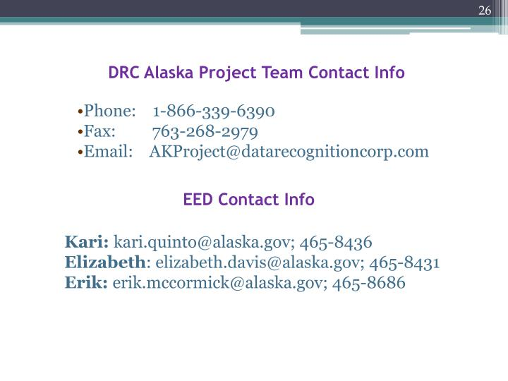 DRC Alaska Project Team Contact Info