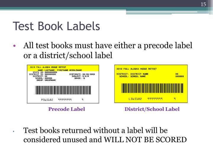 Test Book Labels