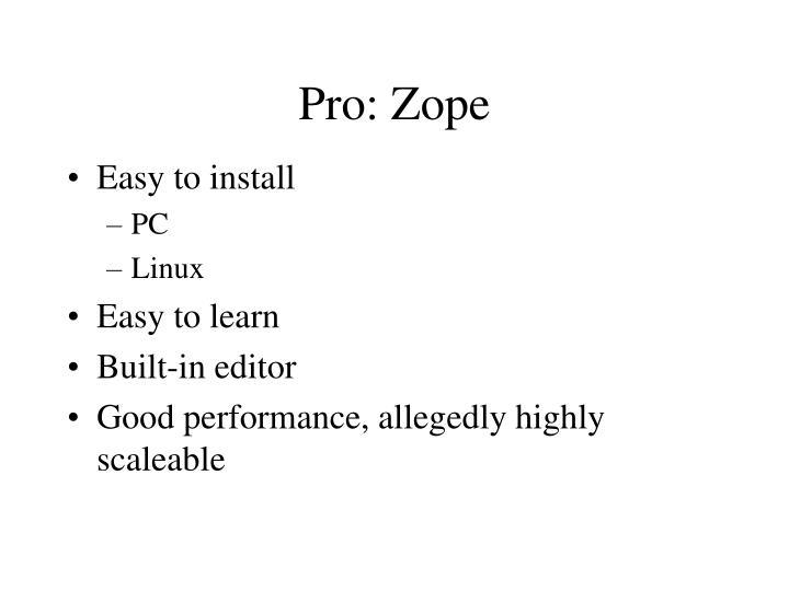 Pro: Zope