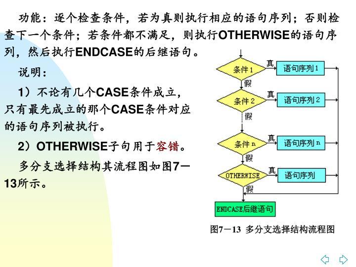 功能:逐个检查条件,若为真则执行相应的语句序列;否则检查下一个条件;若条件都不满足,则执行
