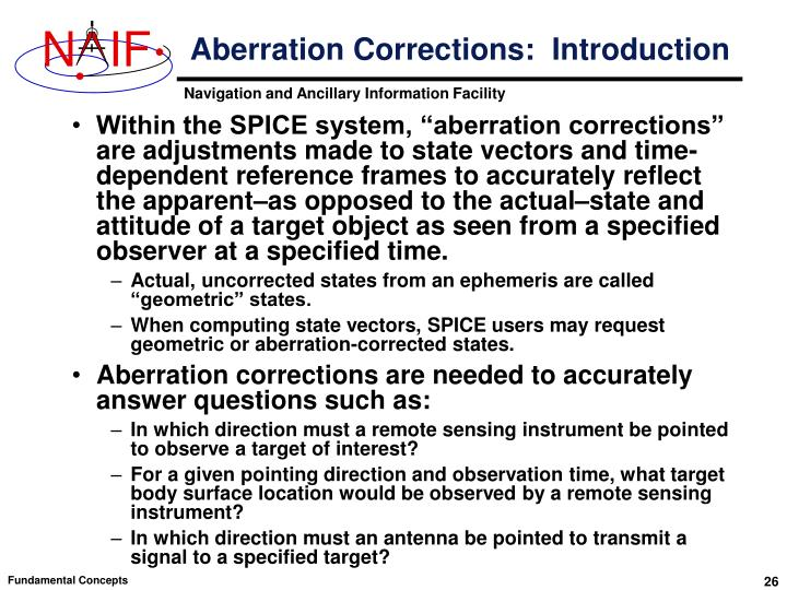 Aberration Corrections:  Introduction