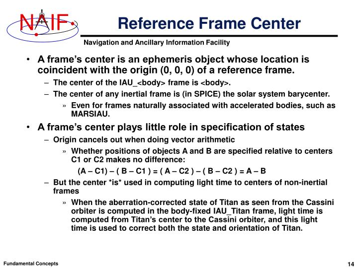 Reference Frame Center