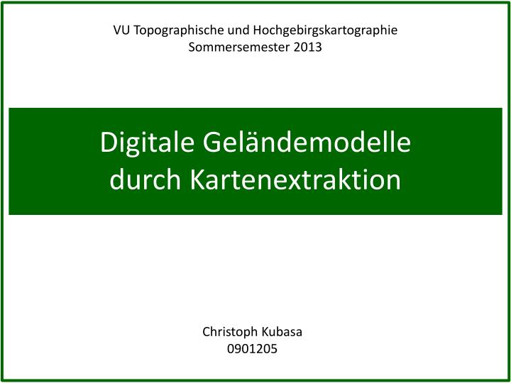 Digitale gel ndemodelle durch kartenextraktion
