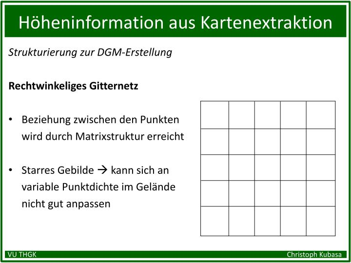 Höheninformation aus Kartenextraktion