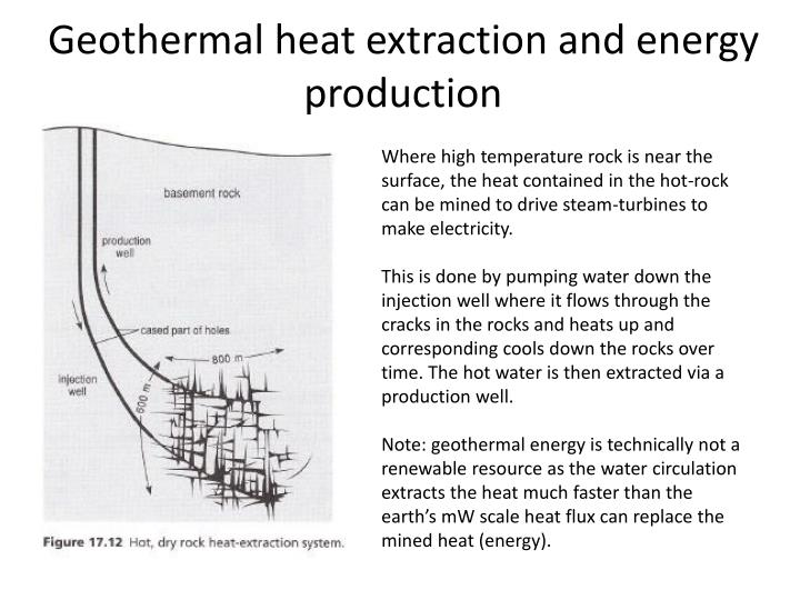 Geothermal heat extraction and energy production