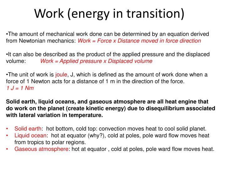 Work (energy in transition)