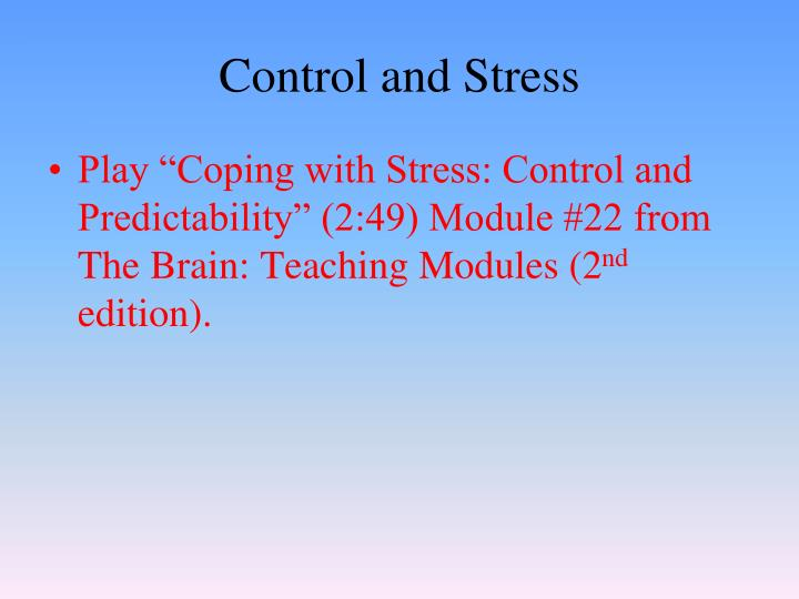Control and Stress