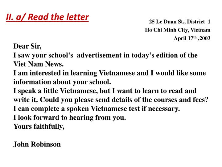 II. a/ Read the letter