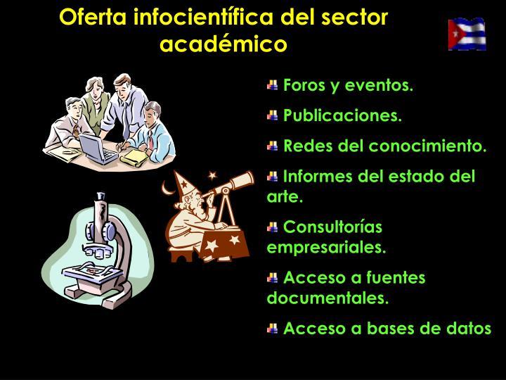 Oferta infocientífica del sector académico