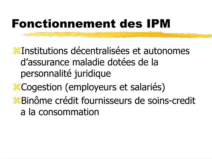 Fonctionnement des IPM