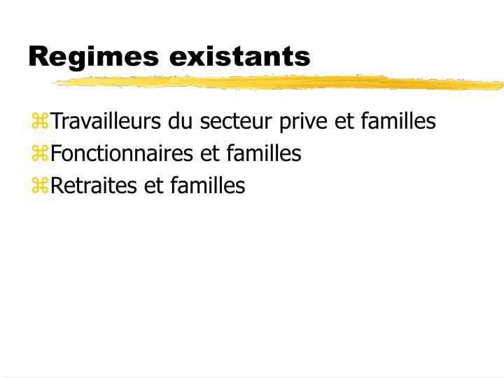 Regimes existants