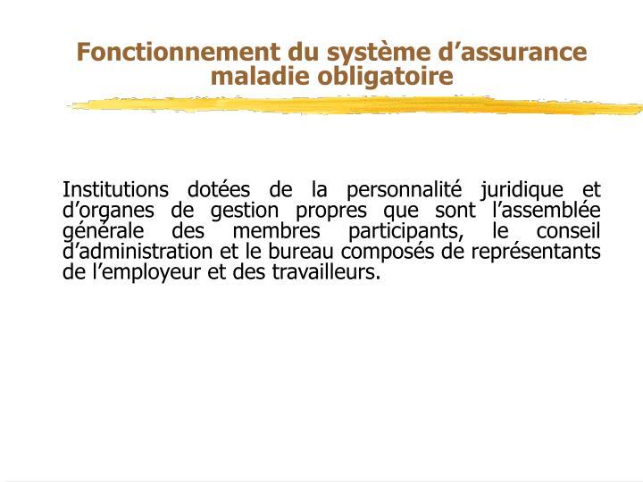Fonctionnement du système d'assurance maladie obligatoire