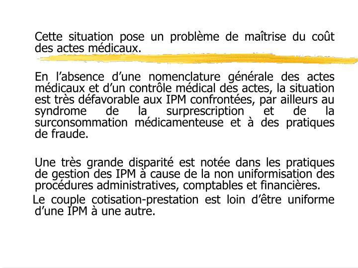 Cette situation pose un problème de maîtrise du coût des actes médicaux.