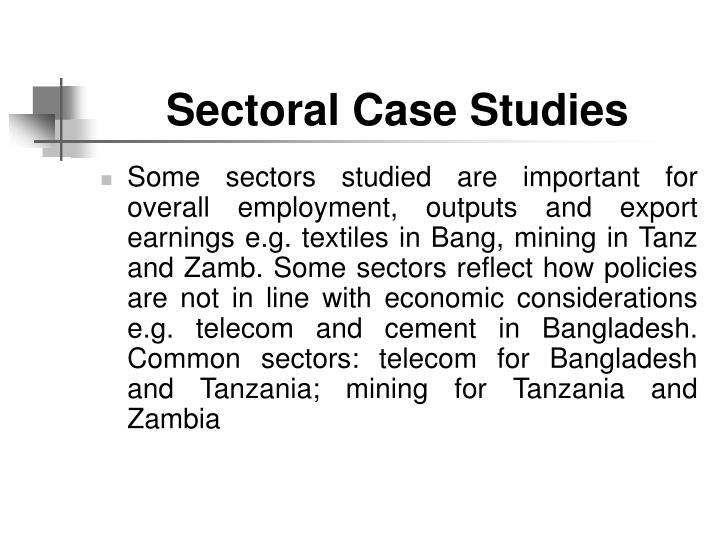 Sectoral Case Studies