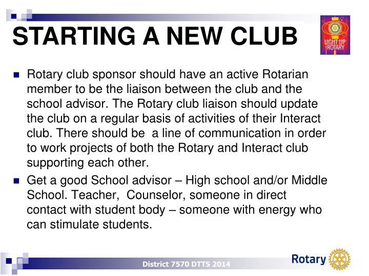 STARTING A NEW CLUB