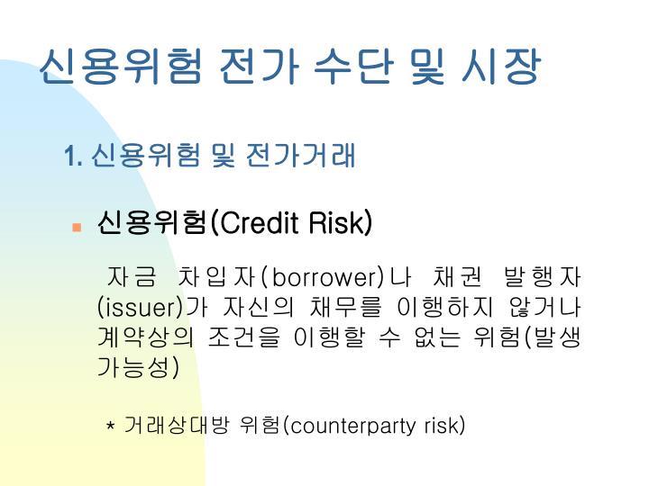 신용위험 전가 수단 및 시장