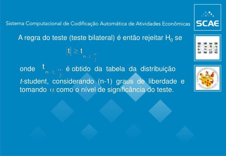 A regra do teste (teste bilateral) é então rejeitar H