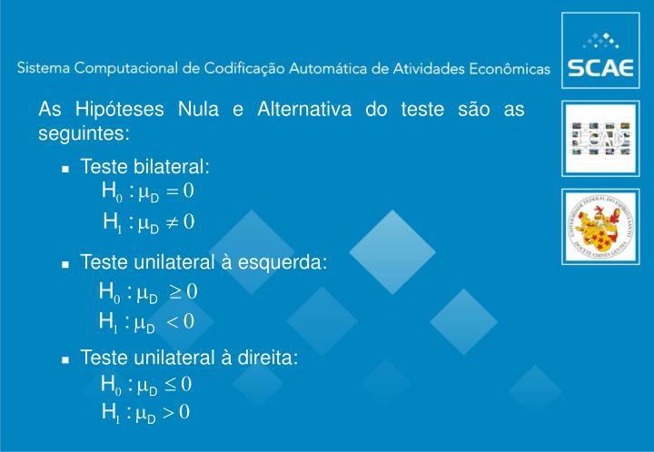 As Hipóteses Nula e Alternativa do teste são as seguintes: