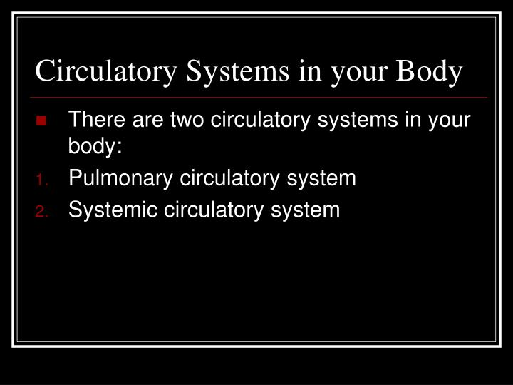 Circulatory Systems in your Body