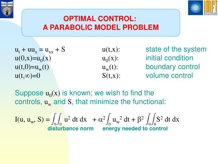 OPTIMAL CONTROL: