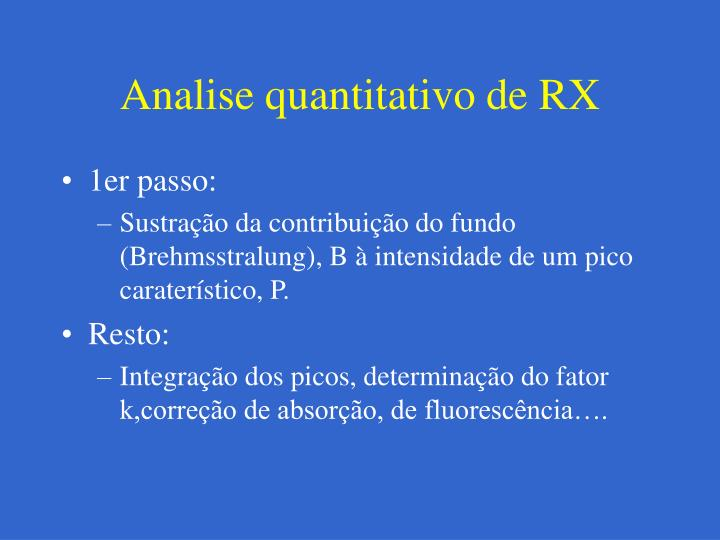 Analise quantitativo de RX