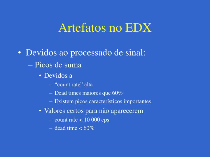 Artefatos no EDX