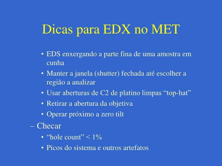 Dicas para EDX no MET