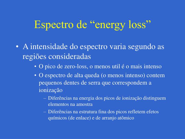 "Espectro de ""energy loss"""