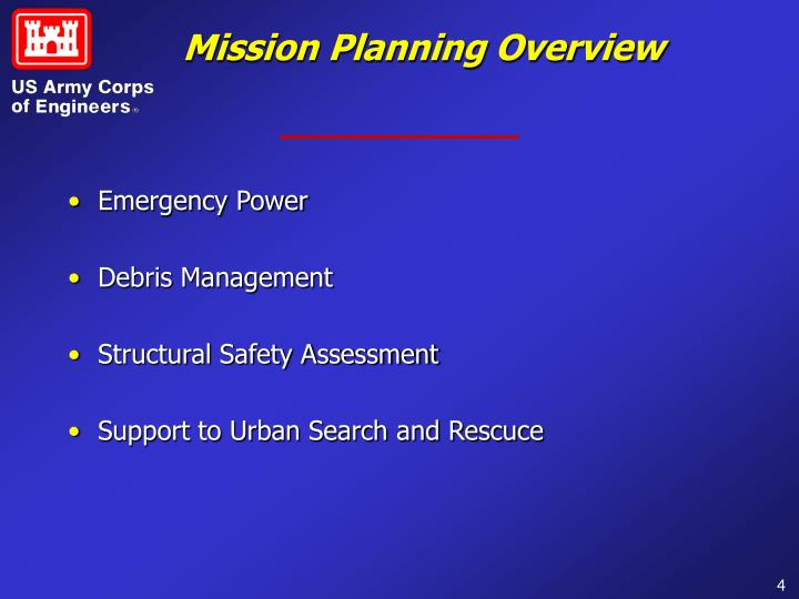 Mission Planning Overview