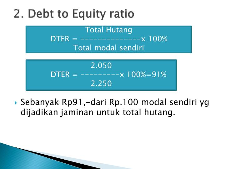 2. Debt to Equity ratio