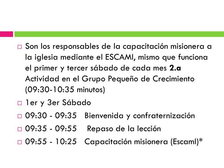 Son los responsables de la capacitación misionera a la iglesia mediante el ESCAMI, mismo que funciona el primer y tercer sábado de cada mes