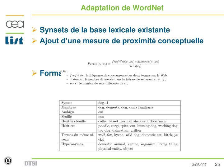 Adaptation de WordNet