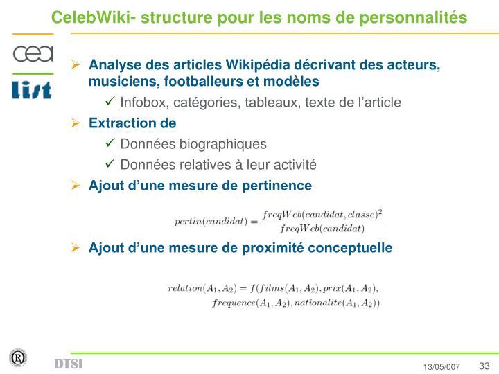 CelebWiki- structure pour les noms de personnalités