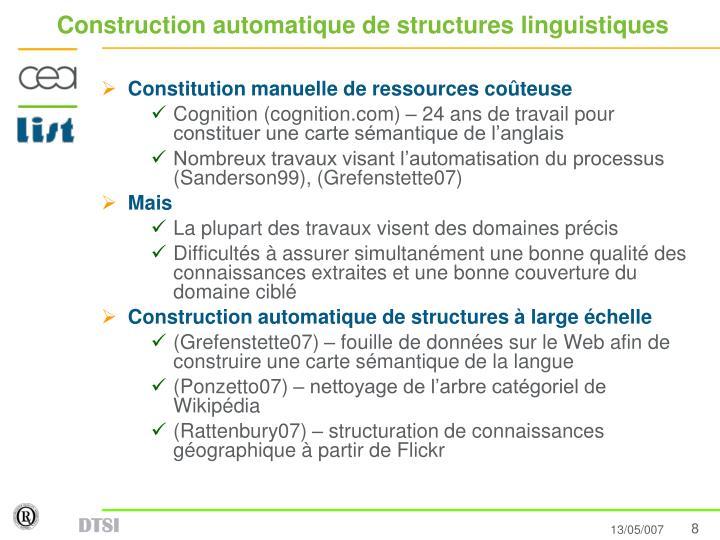 Construction automatique de structures linguistiques