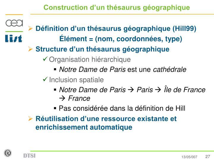 Construction d'un thésaurus géographique