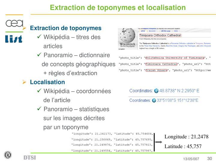Extraction de toponymes et localisation