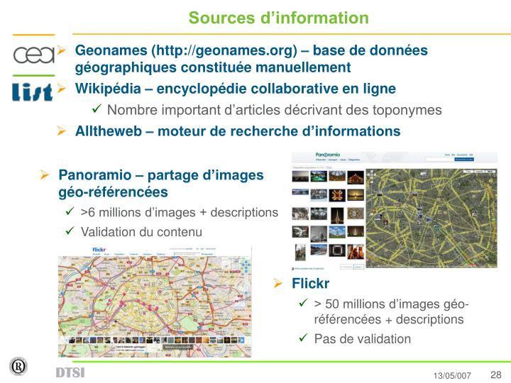Sources d'information