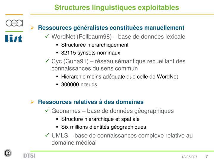 Structures linguistiques exploitables