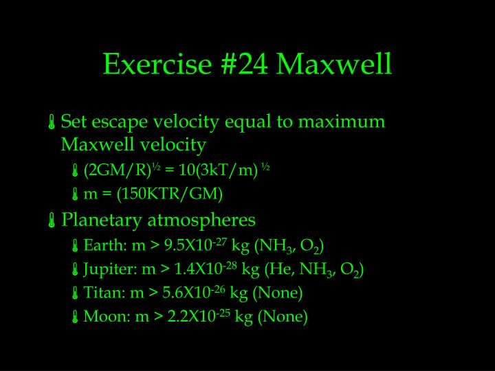 Exercise #24 Maxwell