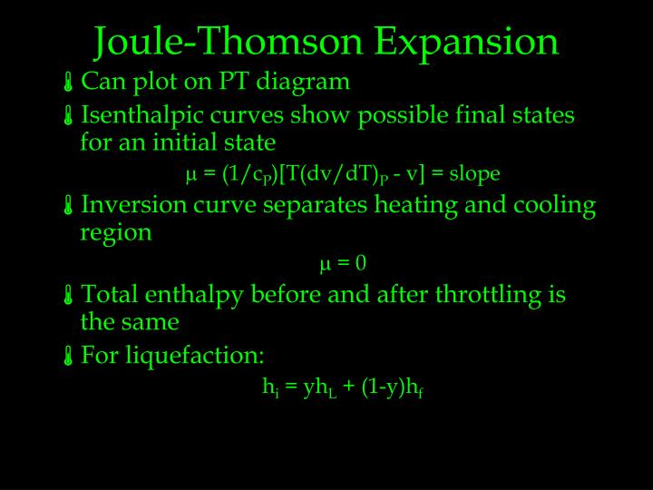 Joule-Thomson Expansion