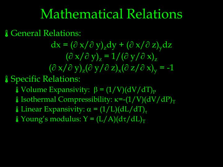 Mathematical Relations